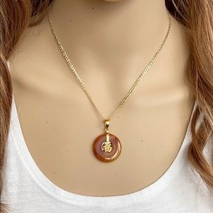 14K Gold Red Jade Chinese Happiness Symbol Pendant
